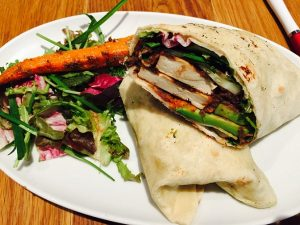 Image shows a tasty wrap of a veg diet