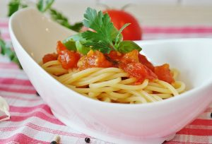 Image shows yummy pasta of a veg diet