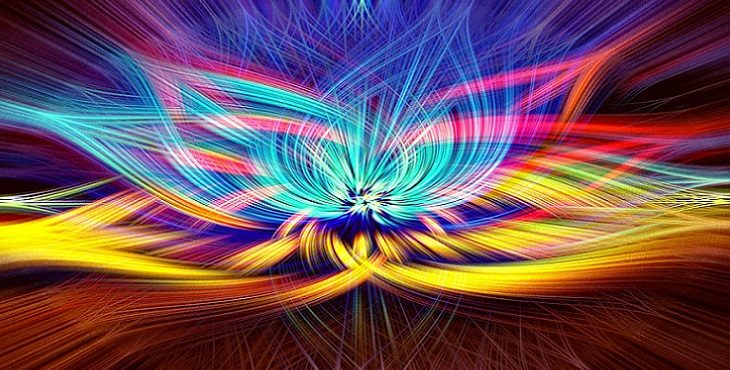 Image of the energy movement of colorful lotus petals. Running the Kundalini.