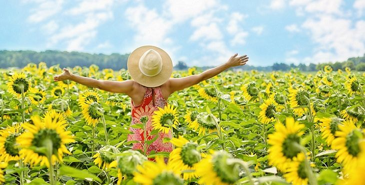 Image of a woman with her back turned standing in a field of sunshiny sunflowers. Live In Joy
