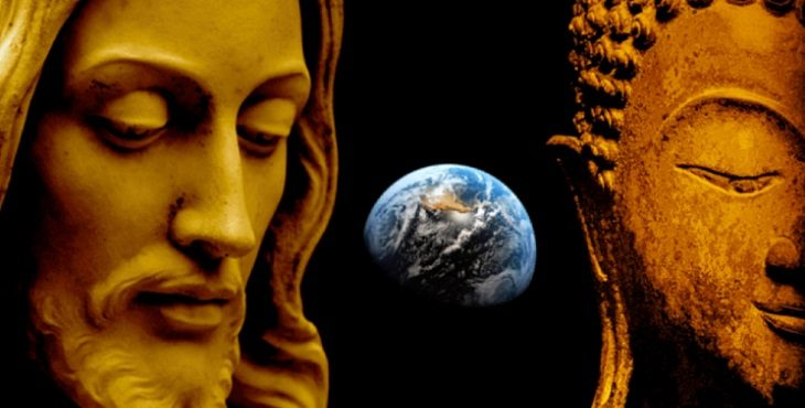 Image of Christ and Buddha with the globe of Earth in the middle of them. Christ And Buddha Are ONE