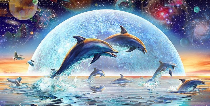 Image painting of whales and dolphins jumping against a beautiful background of stars, planets, and the moon. Earth's Record Keepers