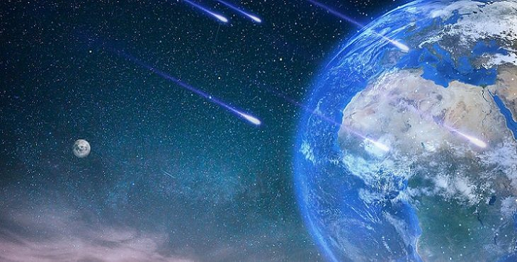 Image of lovely Earth in space with shooting stars. The Ascension Process - Part 4