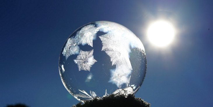 Image of a frozen soap bubble that shows the crystalline structure. The Crystalline Form