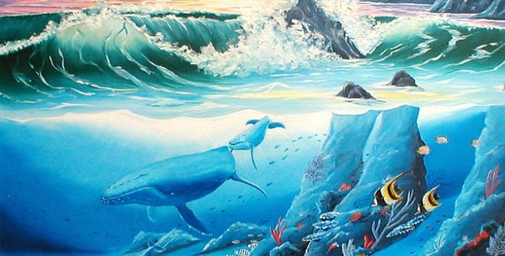 Image of whales and other fish swimming joyously under water. Dancing With The Beloved