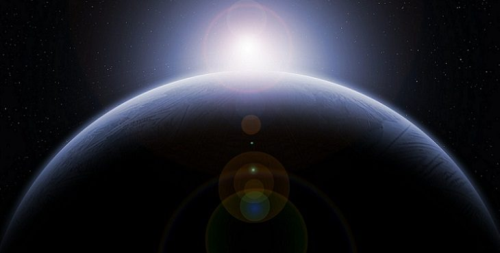 Image of Earth in space with the Sun in the background. Earth Transits Reign Of The Dark