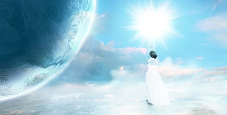 Image of a lovely lady with her back turned and reaching toward the Sun to represent rising above all problems in ascension. Symptoms Of A Problematic Ascension