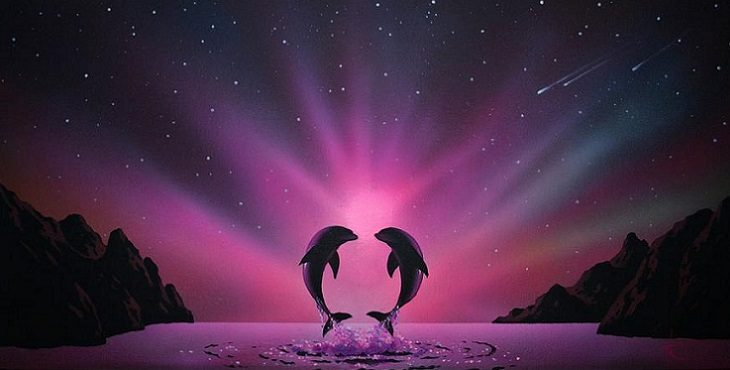 Image of two dolphins forming a heart with the aurora borealis in the background. Aligning With The Heartbeat Of Earth