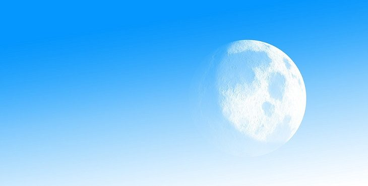 Image of the moon against a light blue background. Earth Attains First Major Pole Shift