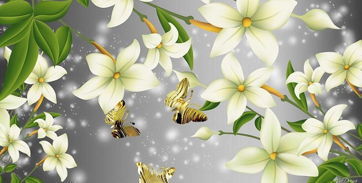 Image of golden butterflies flying near flowers against a twinkling silver background. Transcending Information Brokering