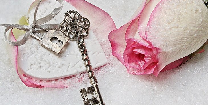 Image of a silver key on a lovely pink and white rose petal with the rose next to it. Light Wave Archive #1
