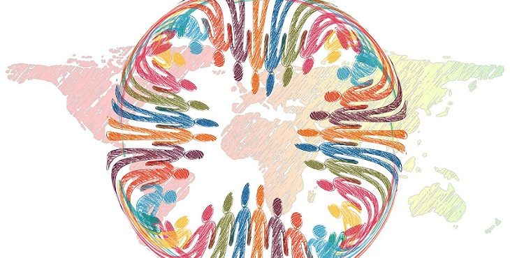 Image of rainbow colors silhouettes of people holding hands surrounding the globe. Mastering Group Unity And The Collaborative Paradigm