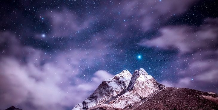 Image of the spectacular mountains of the Himalayas at night with the mists parting to reveal the beautiful night sky of stars. Transcending Fantasy Realities And The Seven Veils Of Illusion