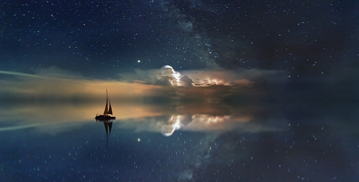 Image of a sailing boat on an ocean starry sky. Constructing A Template For The Ascent Out Of Disease
