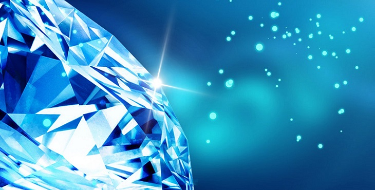 Image of an amazing sparkling blue and white diamond. The Dance Of The Holographic Twin Flames