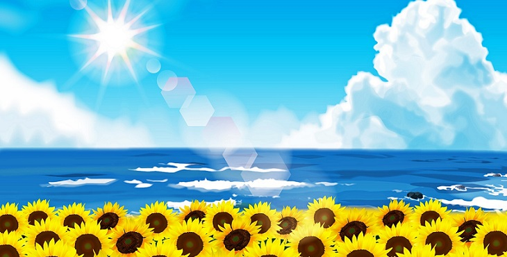 Image of the brilliant Sun shining upon the blue ocean and a field of joyful sunflowers. The First Turning Of Creation
