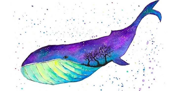 Image of a lovely whale painting in which the universe is within its body. Mastering One's Own Destiny
