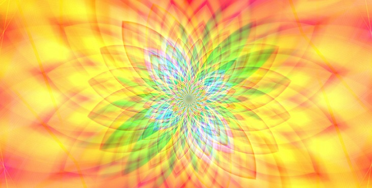 Image of multicolored lotus of lights. Creating A Complete Ascension