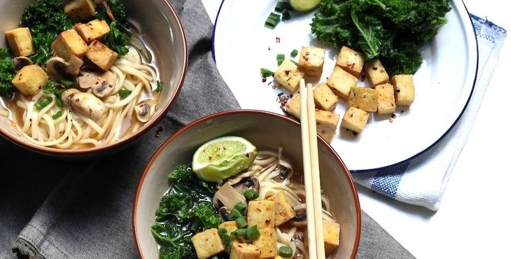 Image of a delicious Asian meal of vegan noodle soup. Main Courses