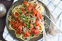 Pasta with Peppers and Lemon Butter Caper Sauce